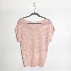 New York & Company pink knit short sleeve top